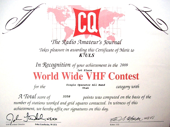 CQ WW VHF 2009