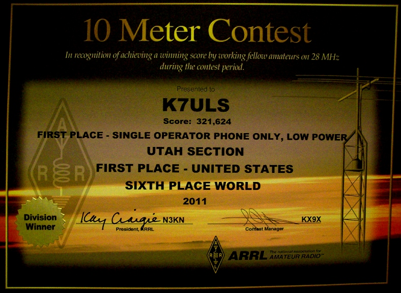 2011 ARRL 10 METER 1ST PLACE UNITED STATES
