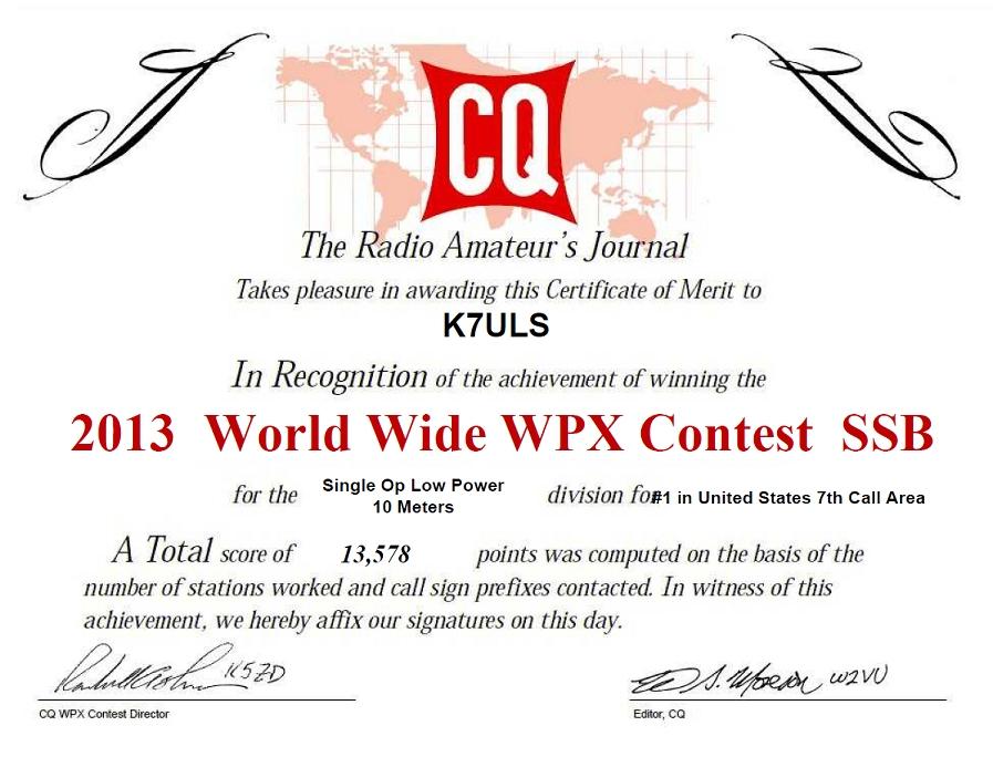 2013 CQWW WPX SSB