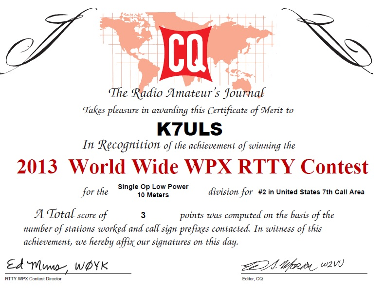 2ND PLACE WITH 1 QSO!