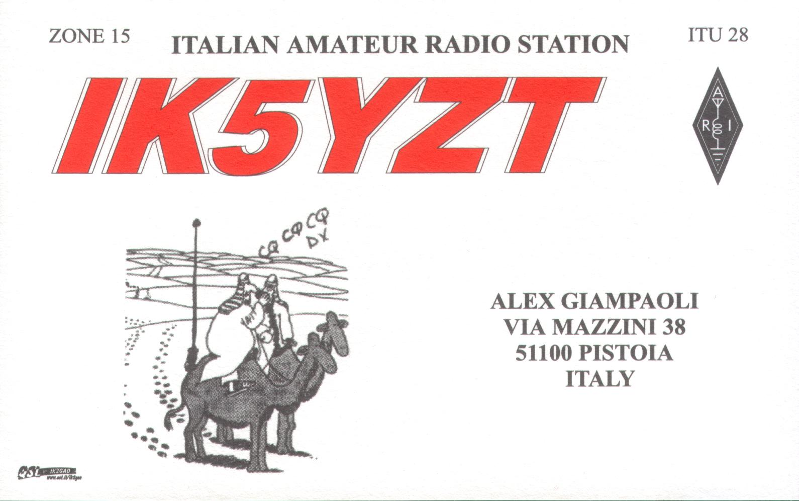 QSL image for IK5YZT