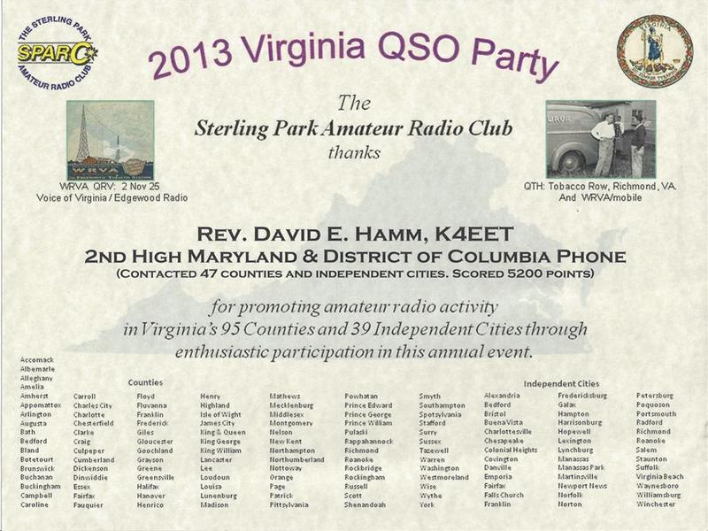 2013 Virginia QSO Party - 2nd Place Maryland and District of Columbia Phone