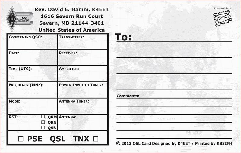 K4EET QSL Card (Back)