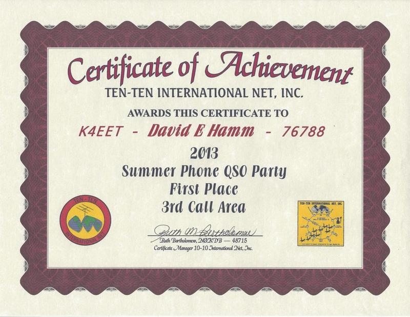 Ten-Ten 2013 Summer Phone QSO Party - First Place 3rd Call Area