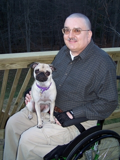Dave and his female Pug, Mito (More Intelligent Than Owner).