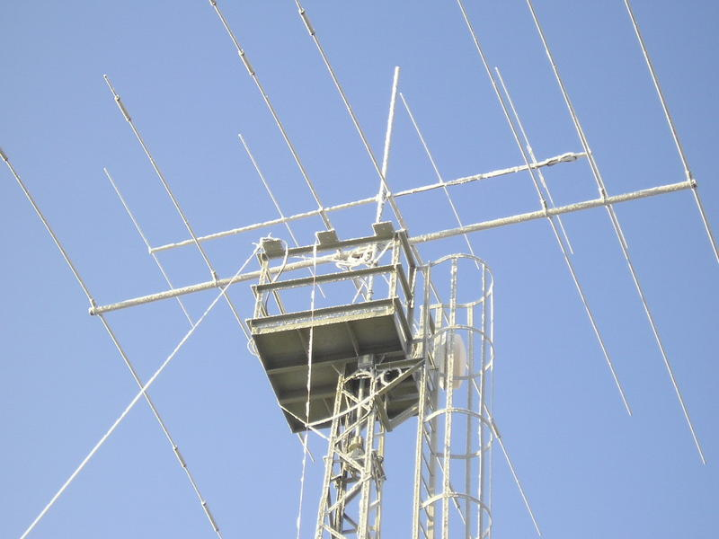 Antenna setup (Mosley PRO67C 40-10m, M2 for 6m, skewed wire going down from top = Half Sloper for 80m, tower is shunt feed loaded for 160m) in my home QTH in Plzen