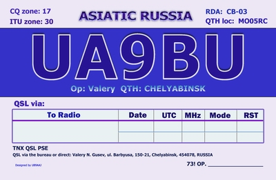QSL image for UA9BU