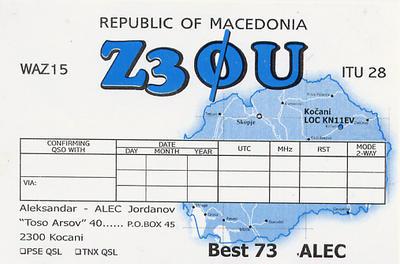 QSL image for Z30U