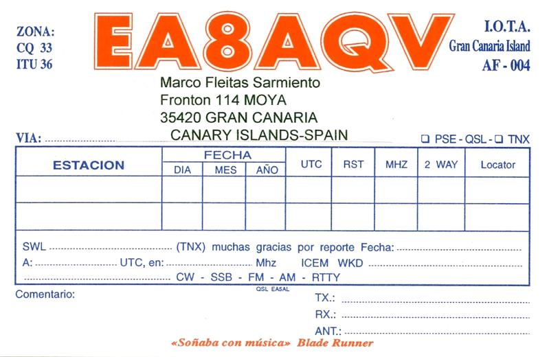QSL image for EA8AQV