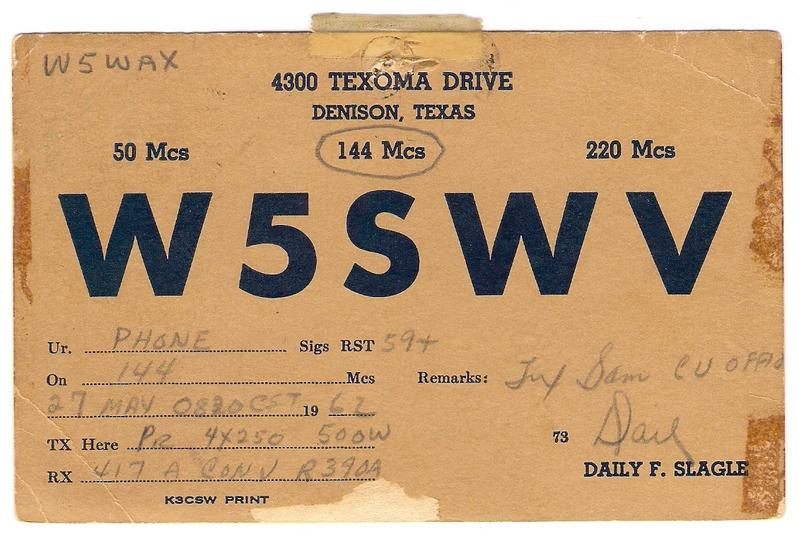 QSL card from W5SWV to W5WAX (now K5SW)