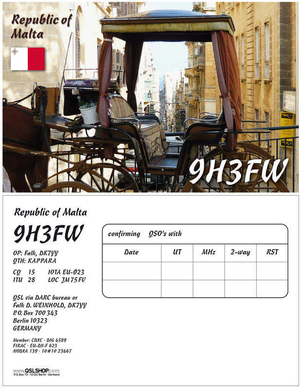 QSL image for 9H3FW