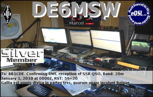 QSL image for DE6MSW