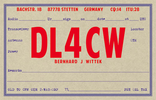 early days style QSL