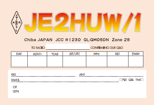 QSL image for JE2HUW