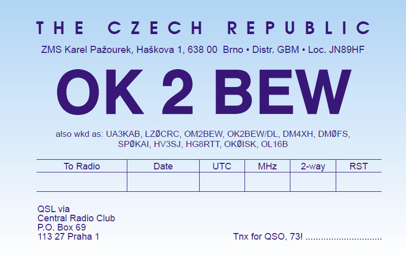 QSL image for OK2BEW