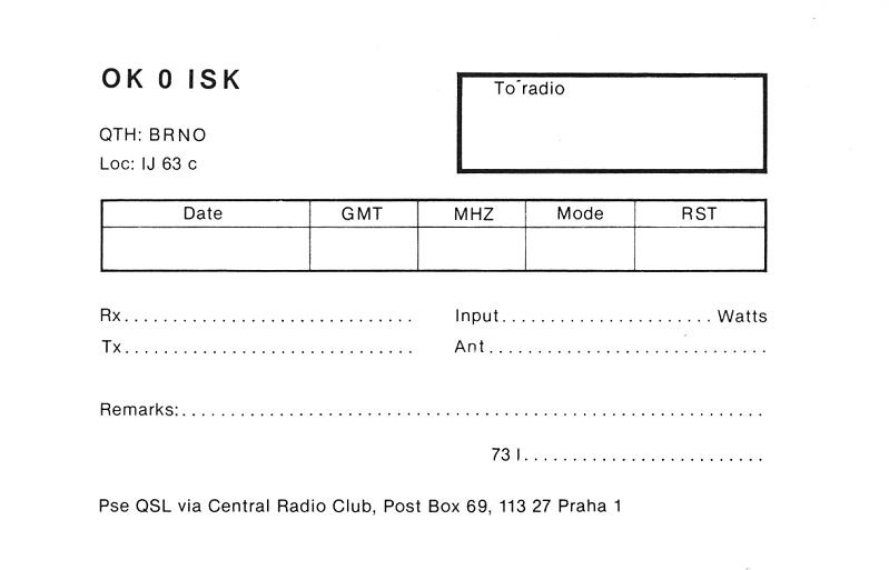 OK0ISK special QSL (back)
