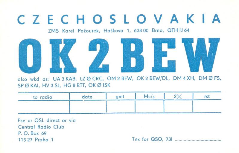 OK2BEW old Czechoslovakian QSL
