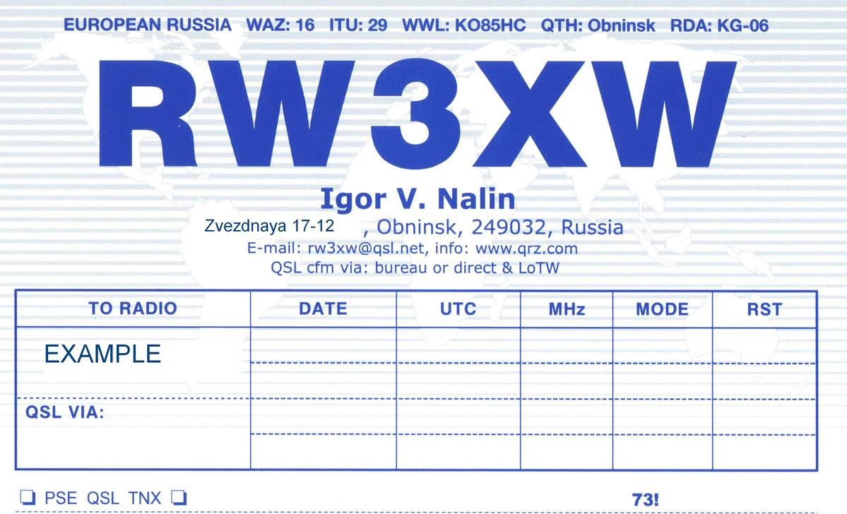 QSL image for RW3XW