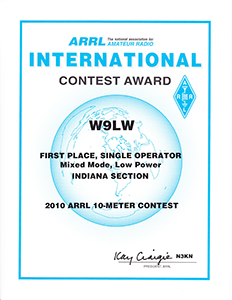 Jay Farlow, W9LW, earned this certificate in the 2010 ARRL 10-meter contest
