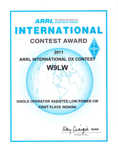 Jay Farlow, W9LW, earned this cerficiate in the 2011 ARRL International DX Contest for placing first in Indiana in the low-power, CW, single-operator, assisted category