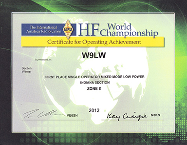Jay earned first place in the Indiana section in the 2012 IARU HF World Championship, single operator, mixed mode, low power category