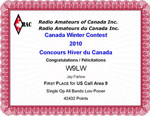 Jay Farlow W9LW  earned this certificate in the 2010 RAC Winter Contest