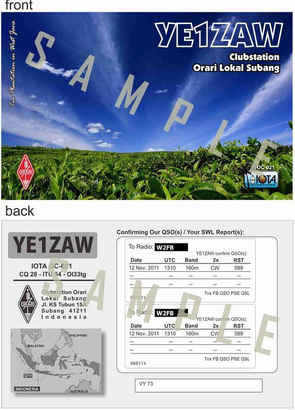 Gbr. 1. Contoh Kartu QSL YE1ZAW yang didesain oleh Dani, YB2TJV.
