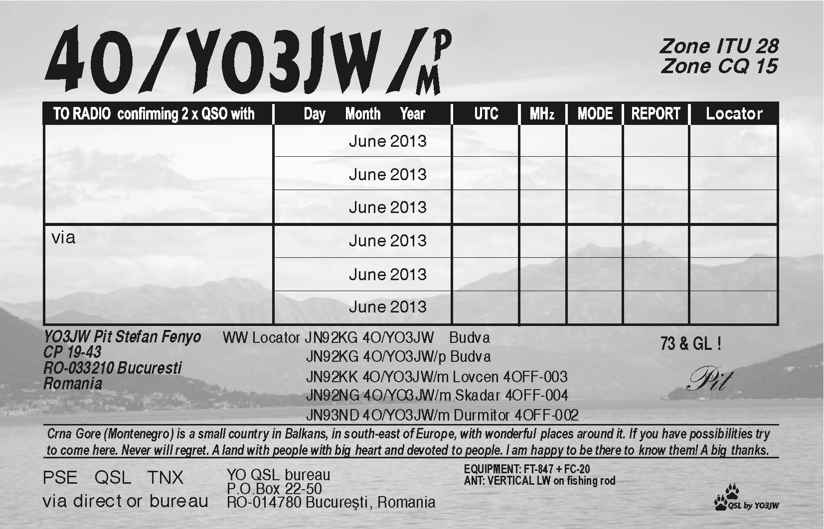 The QSL back side