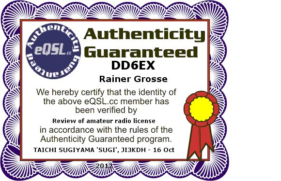 QSL image for DD6EX