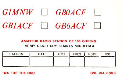 G1MNW GB0ACF GB1ACF GB6ACF QSL CARD