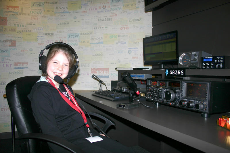 Charlotte age 7 working GB3RS at the RSGB National radio centre Bletchley Park