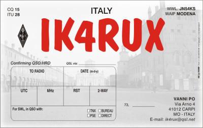 QSL image for IK4RUX