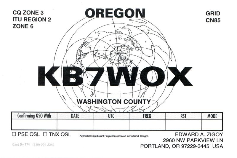 QSL image for KB7WOX