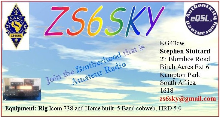 QSL image for ZS6SKY